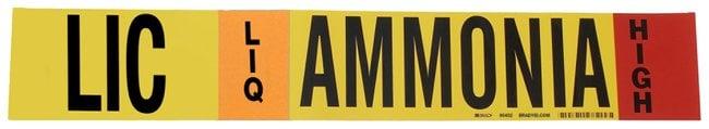 Brady Ammonia (IIAR) Pipe Markers, Legend: LIC/LIQ/HIGH/Ammonia, B-946