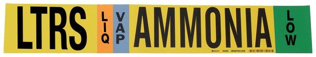 Brady Ammonia (IIAR) Pipe Markers, Legend: LTRS/LIQ/VAP/LOW/Ammonia, B-946