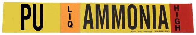 Brady Ammonia (IIAR) Pipe Markers, Legend: PU/LIQ/HIGH/Ammonia, B-946 Self-Sticking