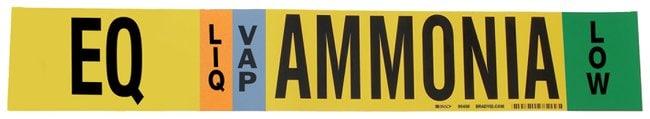 Brady Ammonia (IIAR) Pipe Markers, Legend: EQ/LIQ/VAP/HIGH/Ammonia, B-946