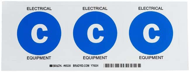 Brady Fire Extinguisher Labels, Legend: C:Gloves, Glasses and Safety:Facility