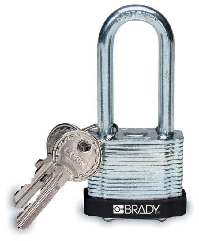 Brady Keyed-Different Steel Padlocks with 2 in. Shackle Locks Black; Each:Gloves,