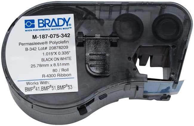 Brady™PermaSleeve™ Heat-Shrink Polyolefin BMP51/BMP53/BMP41 Label Maker Cartridge W x H: 0.335 x 0.75 in. Brady™PermaSleeve™ Heat-Shrink Polyolefin BMP51/BMP53/BMP41 Label Maker Cartridge
