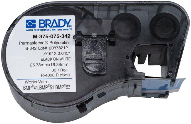 Brady™PermaSleeve™ Heat-Shrink Polyolefin BMP51/BMP53/BMP41 Label Maker Cartridge W x H: 0.645 x 0.75 in. Brady™PermaSleeve™ Heat-Shrink Polyolefin BMP51/BMP53/BMP41 Label Maker Cartridge