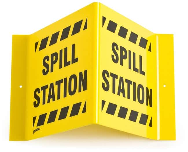 Brady Signs: SPILL STATION Acrylic; H x W: 8 in. x 15 in.; Black on Yellow:Gloves,