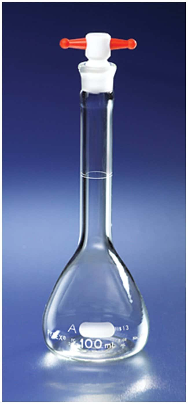 PYREX Class A Flasks with PTFE Stoppers Flask, Capacity: 50mL, Tolerance: