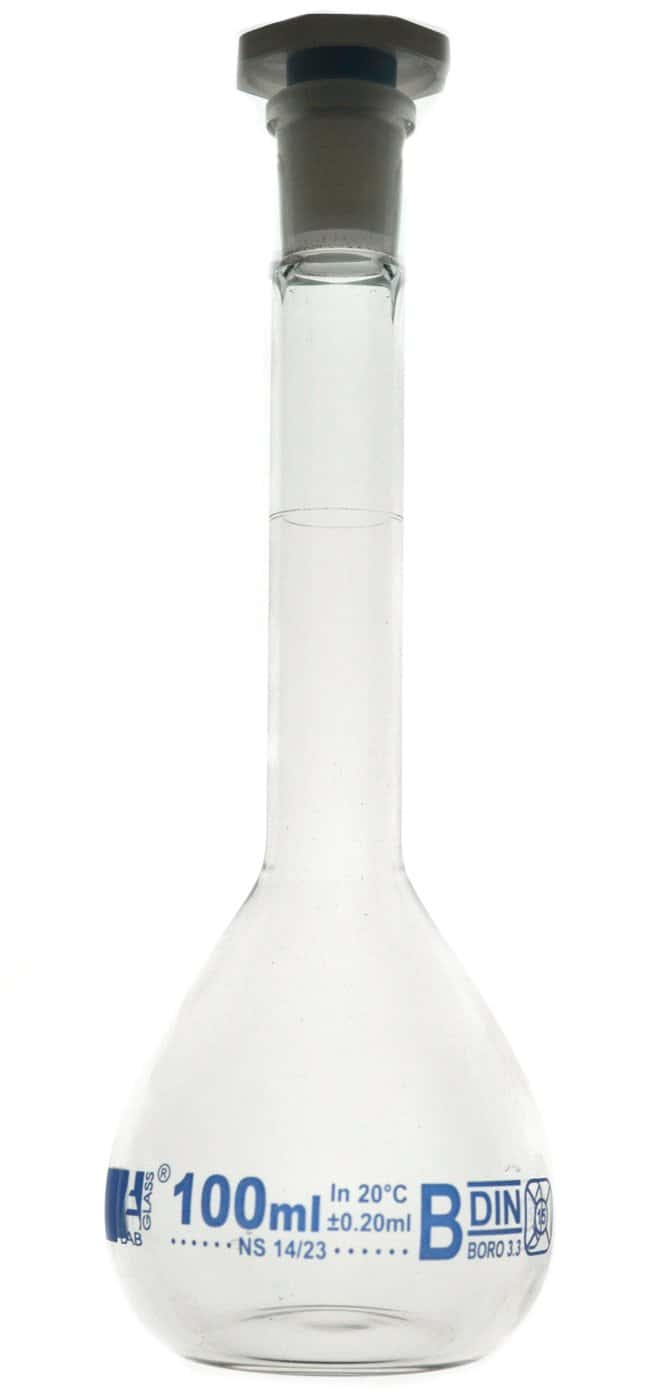 Eisco Class B Glass Volumetric Flasks with Polypropylene Stopper  Capacity: