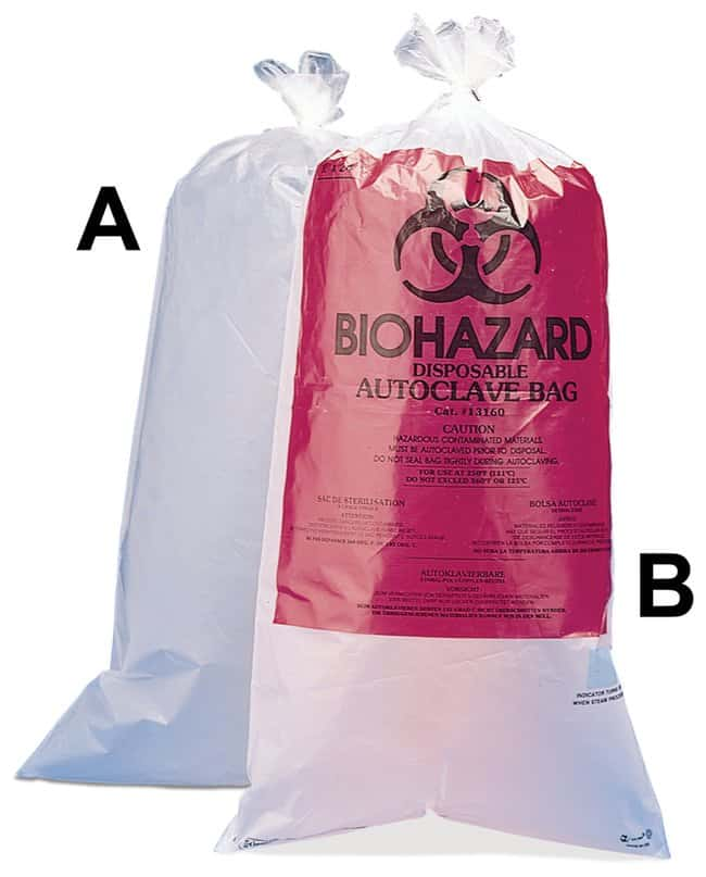 Bel-Art Biohazard Disposal Bags with/without Warning Label:Gloves, Glasses