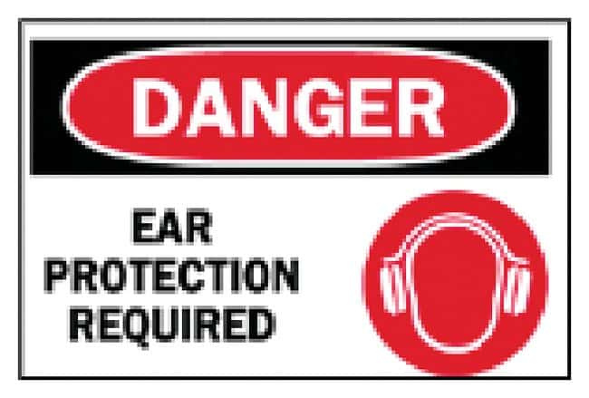 Brady Ear Protection Signs DANGER EAR PROTECTION REQUIRED (w/Picto); Black/red