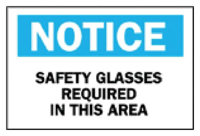 Brady Sign: Safety Glasses Required Sign: Notice - Safety Glasses Required