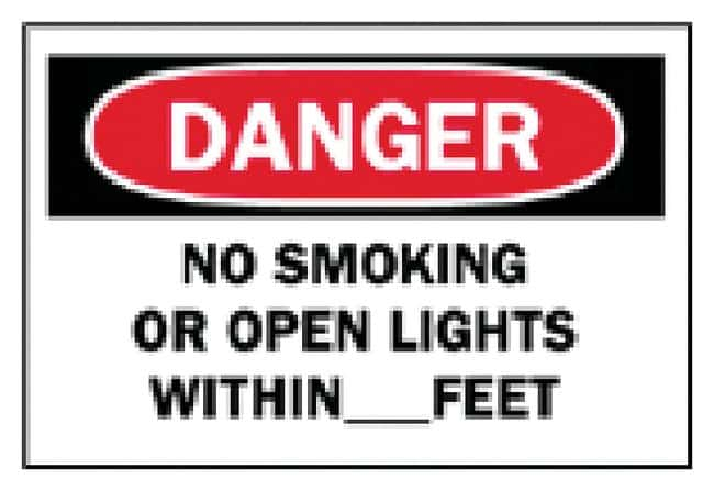Brady No Smoking Signs Sign: No Smoking or Open Lights Within__Feet; Aluminum:Gloves,
