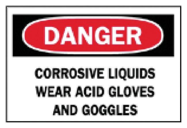 Brady Danger: Corrosive Liquids Wear Sign Aluminum; H x W: 25.4 x 35.56cm