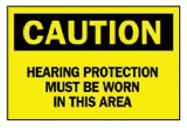 Brady Ear Protection Signs CAUTION HEARING PROTECTION MUST BE WORN IN THIS