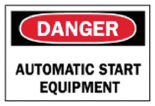 Brady Machine and Operational Signs: Automatic Start Equipment Sign: Danger