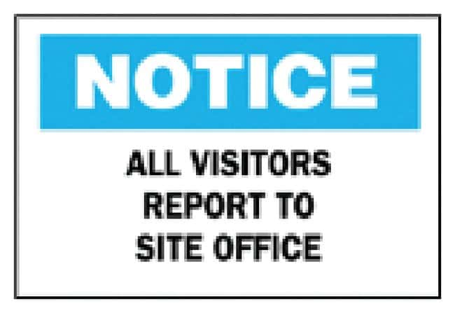 Brady Notice: All Visitors Report To Site Office Sign Corrugated polypropylene;