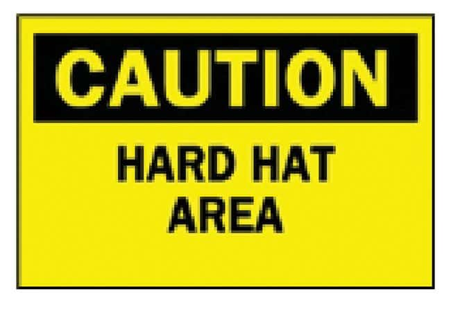 Brady Temporary Signs: Hard Hat Area Sign: HARD HAT AREA:Gloves, Glasses