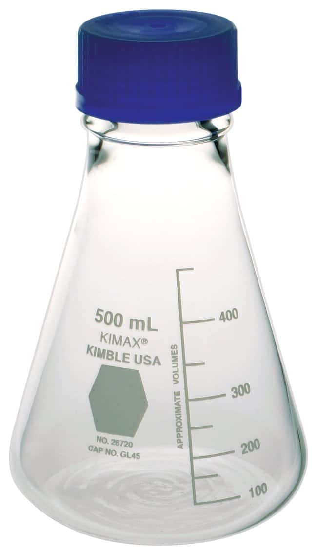 DWK Life Sciences Kimble™ KIMAX™ Erlenmeyer Flasks with Screw Caps Capacity: 250mL; Graduation interval 10 to 250mL; Bumper size 6 DWK Life Sciences Kimble™ KIMAX™ Erlenmeyer Flasks with Screw Caps