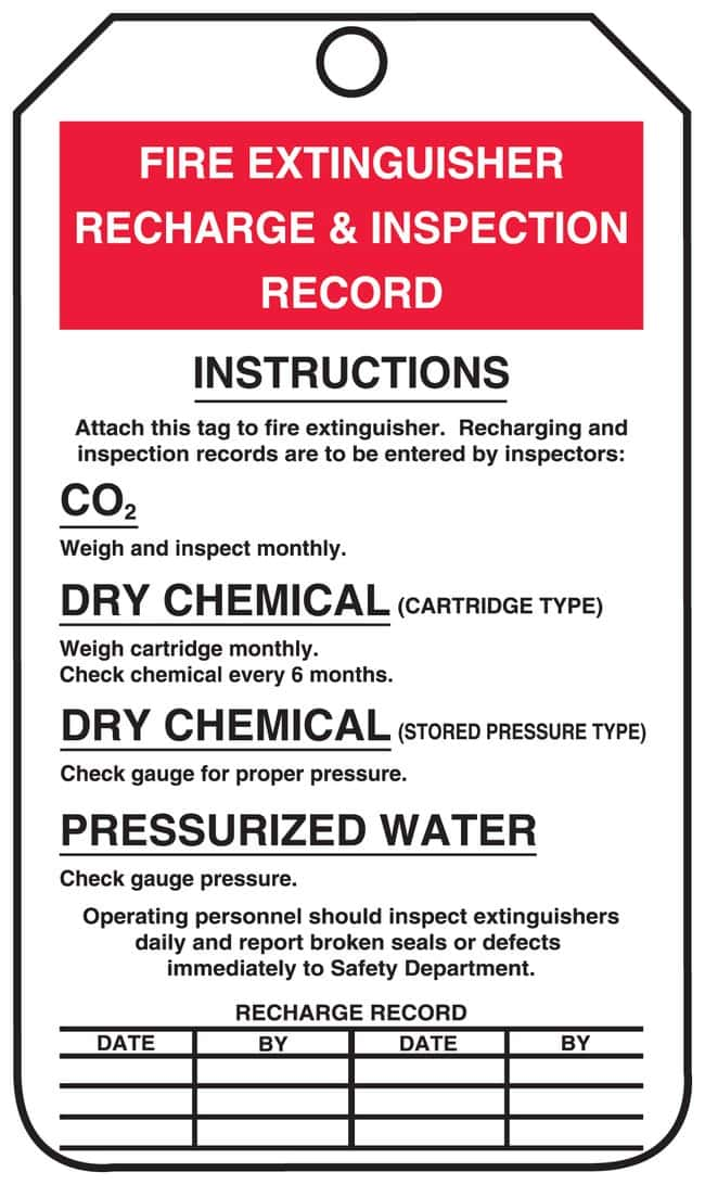 Accuform Signs Fire Extinguisher Recharge/Inspection Record Tags Front: