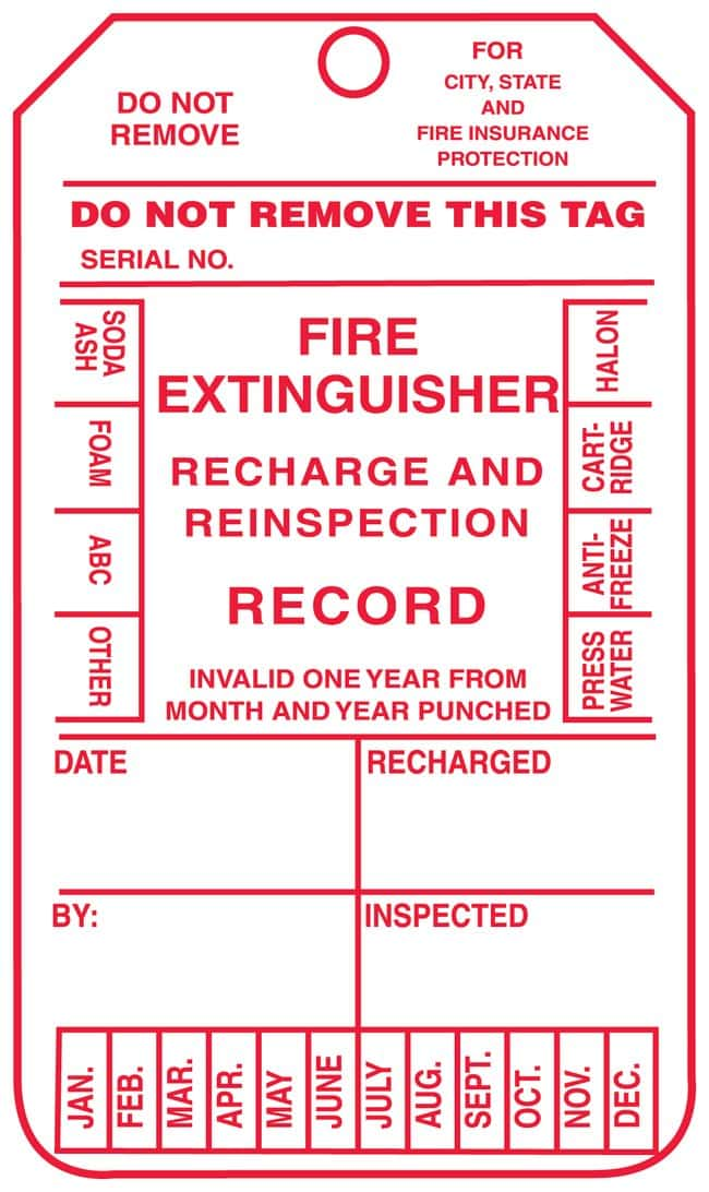 Accuform Signs Fire Extinguisher Inspection Record Tag, Four Year For monthly