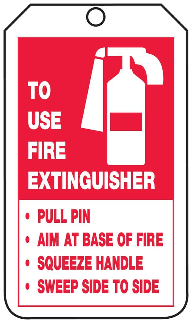 Accuform Signs To Use Fire Extinguisher Tags Front: To Use Fire Extinguisher