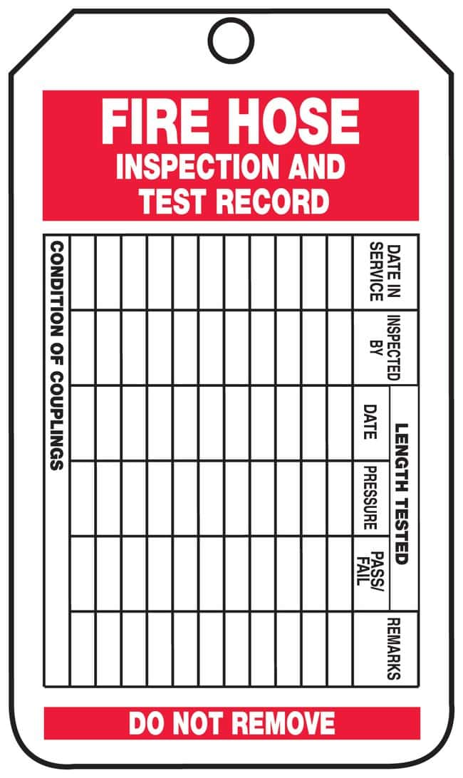 Accuform Signs Fire Hose Inspection and Test Record Tags Front: Fire Hose