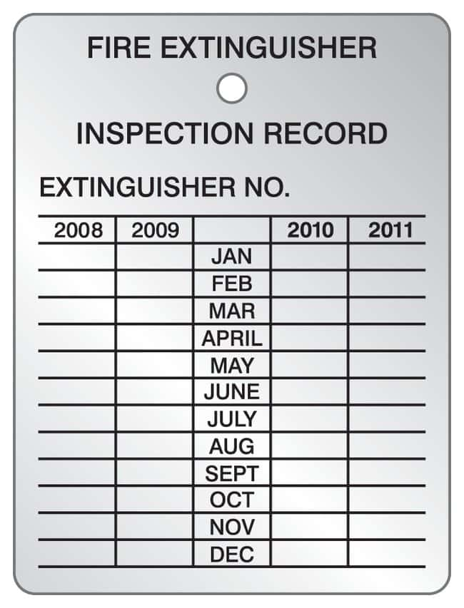 Accuform Signs Fire Extinguisher Inspection Record Tag, Four Year