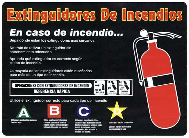 Accuform Signs Fire Extinguisher Awareness Poster Spanish version:Gloves,