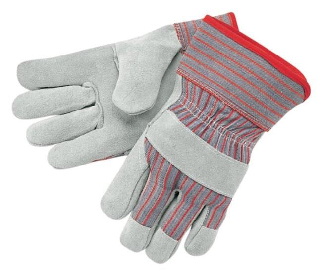 MCR Safety Split Shoulder Leather Palm Gloves Knitwrist with knuckle strap;