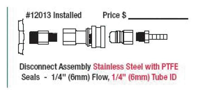 Justrite Custom Safety Disposal Can Fittings Stainless steel; 1/4 in. PTFE