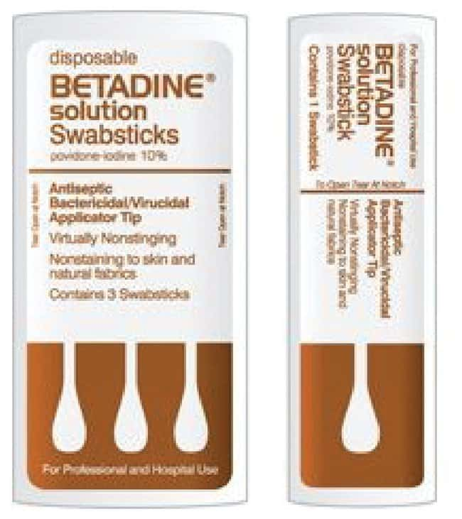 Purdue Products Betadine Swabsticks 50 per case:Gloves, Glasses and Safety