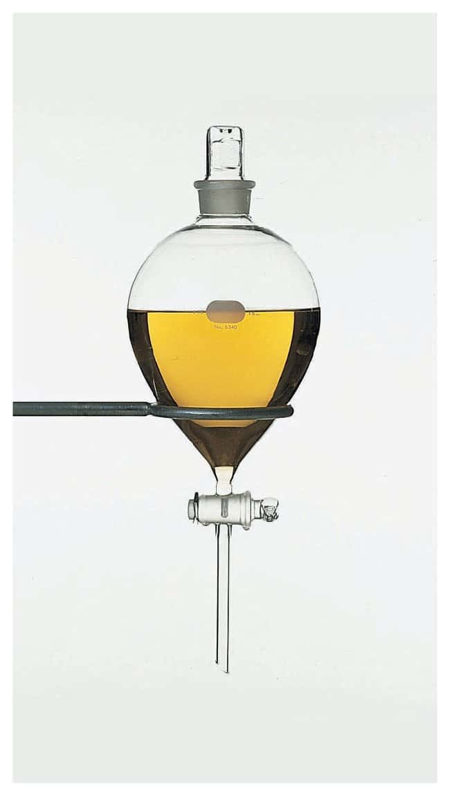 PYREX Globe-Shaped Funnels with standard taper Stopcock and Stopper 125mL:Beakers,