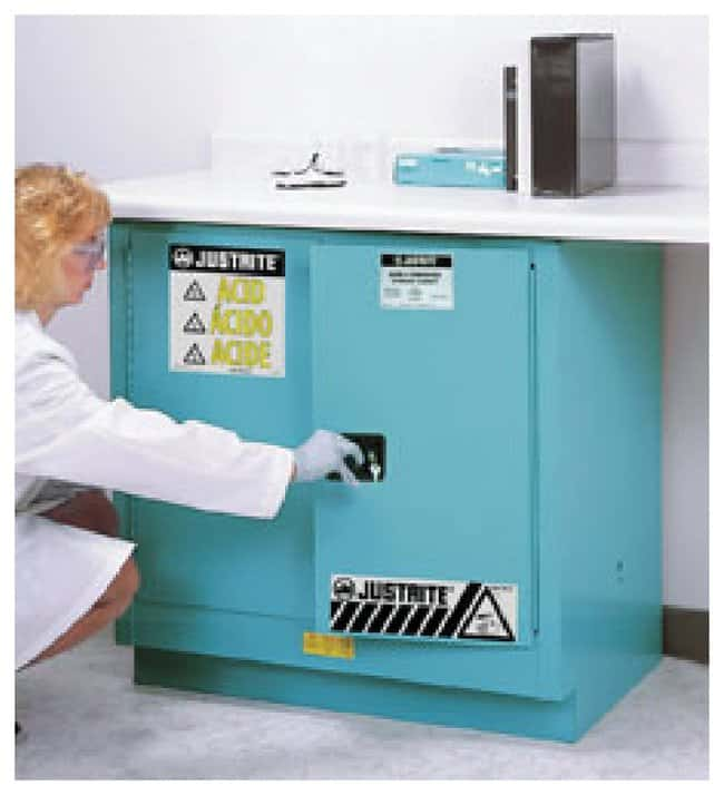 Justrite™Chemcor™ Undercounter Corrosives/Acid Safety Cabinet Capacity: 22 gal.; 2 self-close doors; 35H x 35W x 22D; Blue Justrite™Chemcor™ Undercounter Corrosives/Acid Safety Cabinet