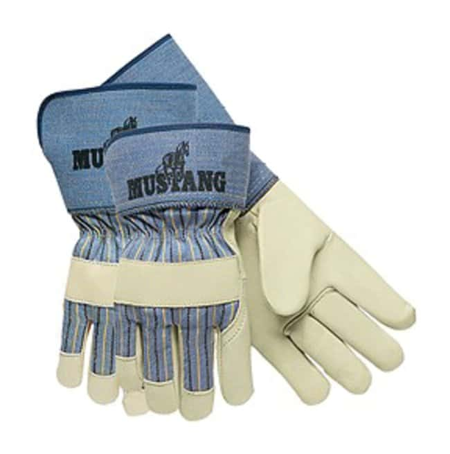 MCR Safety Mustang Leather Palm Gloves 2.5 in. Rubberized Safety Cuffs;