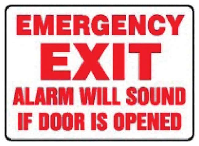 Accuform Signs Fire Safety Signs: Exit Alarm Will Sound Sign: EMERGENCY