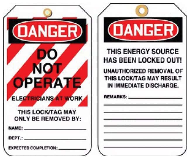 Accuform Signs Lockout Tags Lockout Tags; Danger: Do Not Operate, Electricians