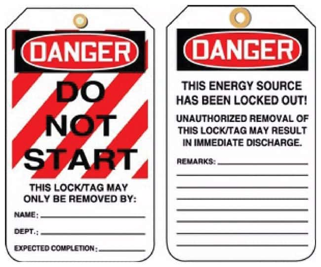 Accuform Signs Lockout Tags Lockout Tags; Danger: Do Not Start; RV Plastic:Gloves,