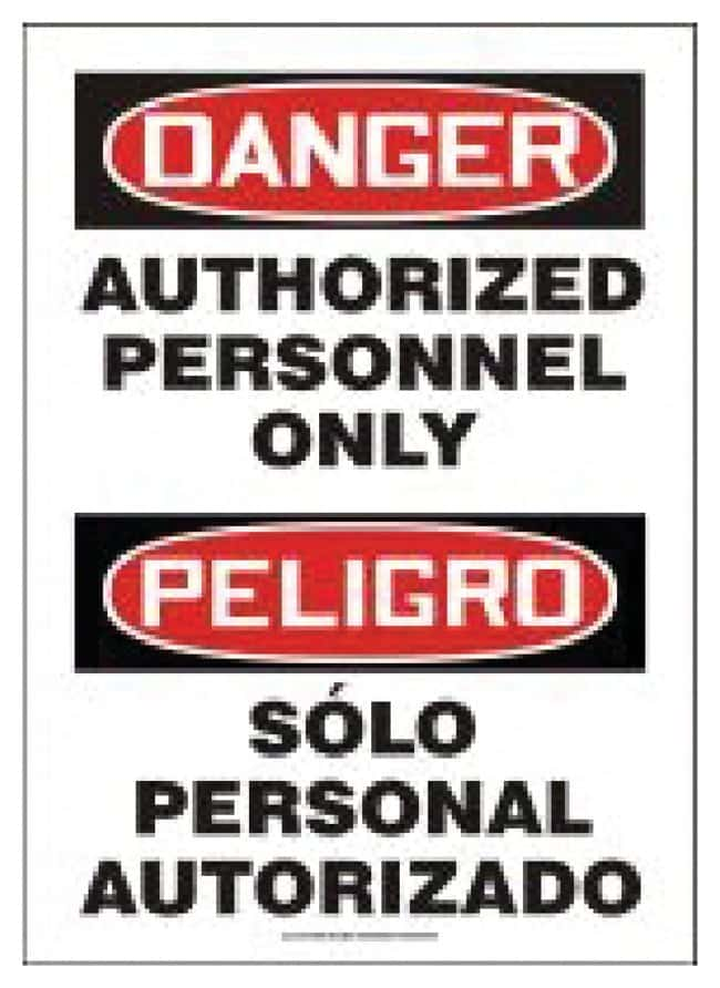 Accuform Signs Safety Signs, Bilingual: Authorized Personnel 14 x 10 in.;