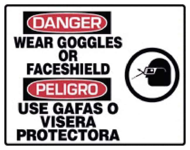 Accuform Signs PPE Safety Signs: Wear Goggles or Face Shield Sign: WEAR