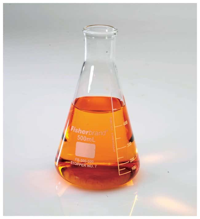 Fisherbrand™Reusable Glass Narrow-Mouth Erlenmeyer Flasks Glass flask; Capacity: 500mL; Subdiv.: 50mL; Stopper number 7 Fisherbrand™Reusable Glass Narrow-Mouth Erlenmeyer Flasks