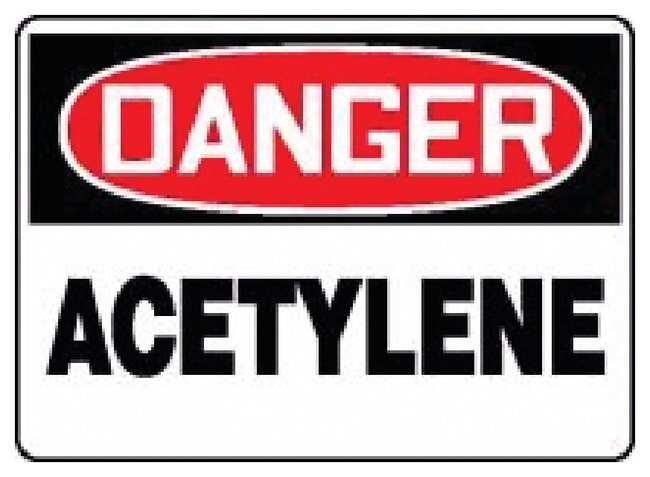 Accuform Signs Chemicals and Haz Mat Signs: Acetylene Legend: Danger Acetylene:Gloves,