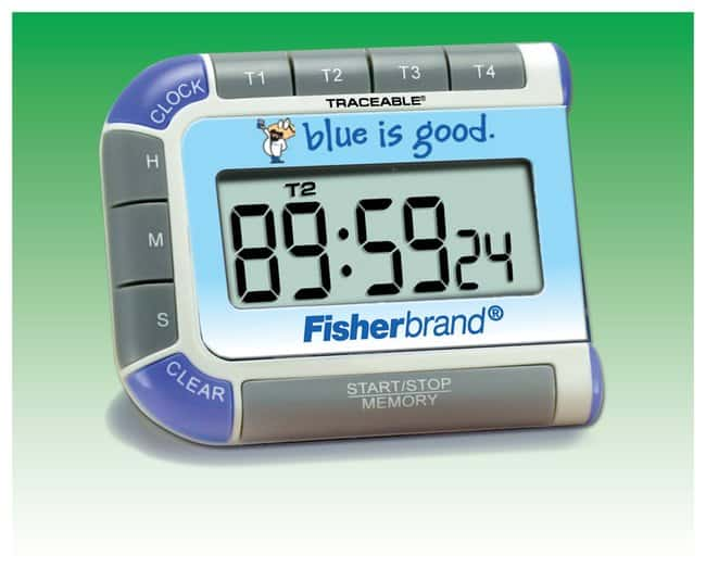 Fisherbrand™Seymour Blue™ Traceable™ Multi-Colored Timer Four separate timing channels countdown and alarm; Times up to 99 hours, 59 minutes, 59 seconds Stopwatches