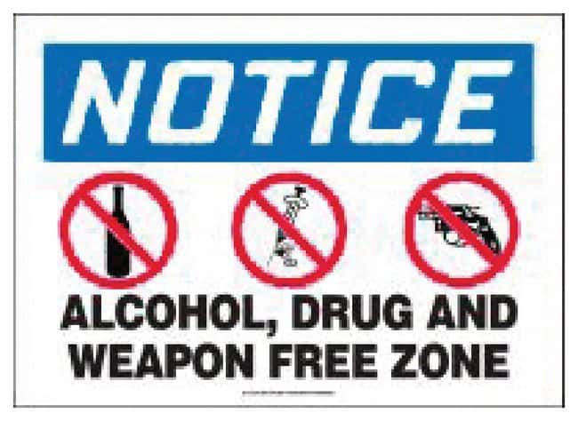 Accuform Signs Alcohol Drug and Weapon Free Zone Plastic; 10 x 14 in.:Gloves,