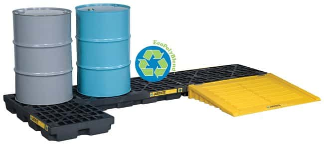 Justrite™EcoPolyBlend™ Accumulation Centers Platform; 2 drum; 100% Recycled; Black Justrite™EcoPolyBlend™ Accumulation Centers