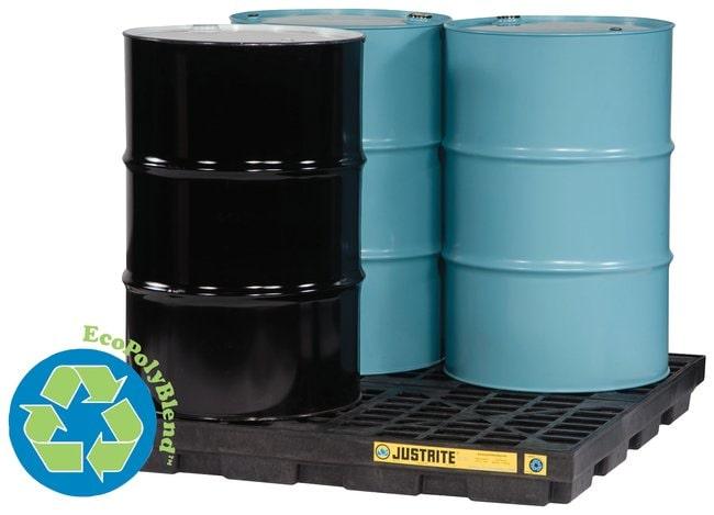 Justrite™EcoPolyBlend™ Accumulation Centers Platform; 4 Drum; 100% Recycled; Black Justrite™EcoPolyBlend™ Accumulation Centers