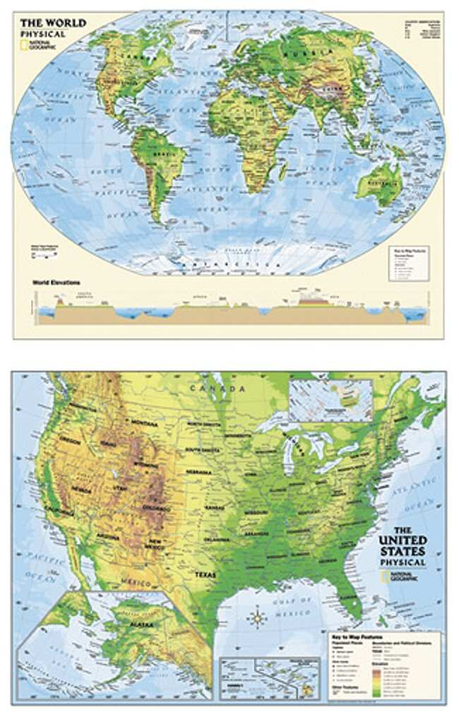 National Geographic Us And World Physical Wall Maps Teaching - National-geographic-us-map