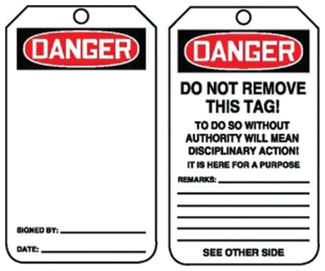 Accuform Signs Danger: (without message) Tag Side 1: Danger (without message);