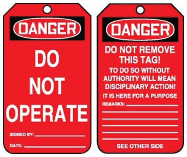 Accuform Signs Danger: Do Not Operate Tag Side 1: Danger Do Not Operate;
