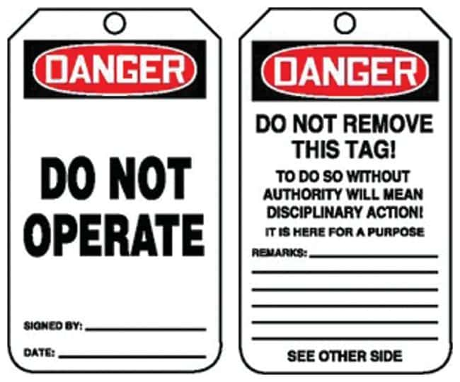 Accuform Signs Danger: Do Not Operate Tags Side 1: Danger Do Not Operate;
