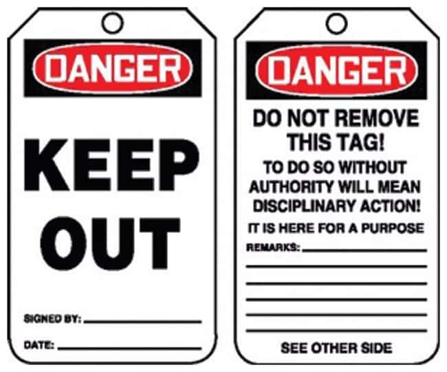 Accuform Signs Danger: Keep Out Tag Side 1: Danger Keep Out; Plastic:Gloves,