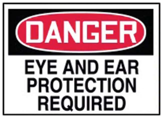 Accuform Signs Danger: Eye and Ear Protection Required Adhesive vinyl;